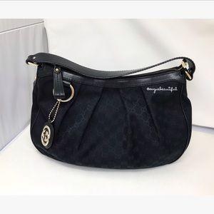 Gucci Black Monogram Medium Sukey Hobo Bag